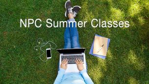 Girl on lawn with laptop, text says NPC Summer Classes