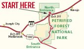 Map to Petrified Forest National Park