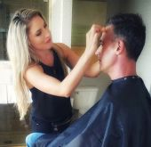 Cindy Stirling does the makeup for Freddie Printz Jr. at Comic Con - San Diego.